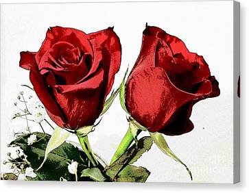 Red Roses 3 Canvas Print by Rose Wang