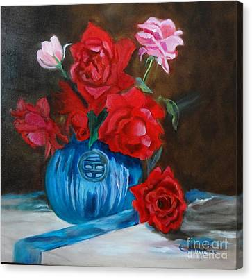 Canvas Print featuring the painting Red Roses And Blue Vase by Jenny Lee