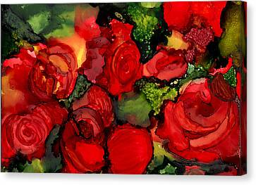 Red Roses Canvas Print by Elaine Hodges