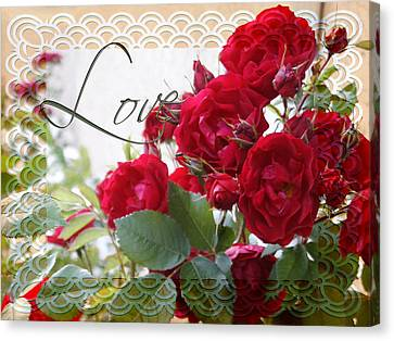 Canvas Print featuring the photograph Red Roses Love And Lace by Sandra Foster
