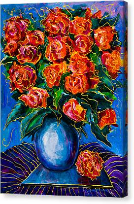 Red Roses Canvas Print by Maxim Komissarchik
