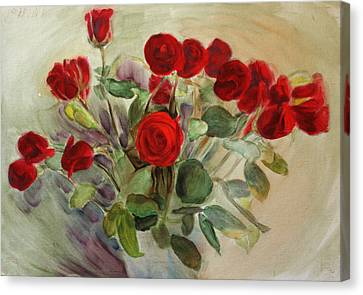 Red Roses Canvas Print by Tanya Byrd