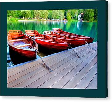 Red Rowboats Dock Lake Border Canvas Print by L Brown