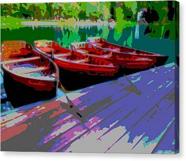 Red Row Boats Dock Lake Enhanced IIi Canvas Print by L Brown