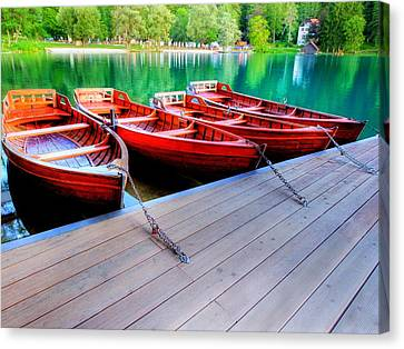 Red Rowboats Dock Lake Upsized II Canvas Print by L Brown