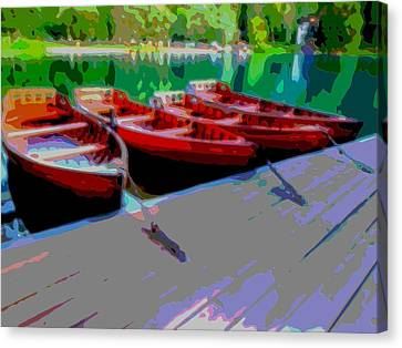 Red Rowboats Dock Lake Enhanced Iv Canvas Print by L Brown