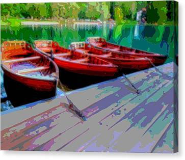 Red Rowboats Dock Lake Enhanced V Canvas Print by L Brown