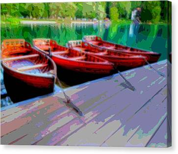 Red Rowboats Dock Lake Enhanced Vi Canvas Print by L Brown
