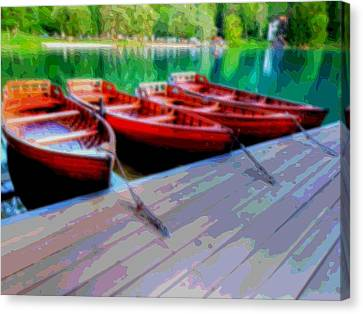 Red Rowboats Dock Lake Enhanced Viii Canvas Print by L Brown