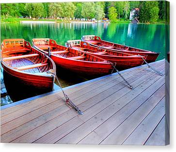 Red Rowboats Dock Lake Upsized Canvas Print by L Brown
