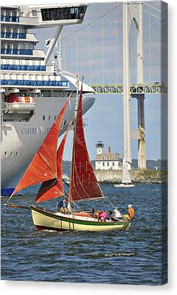 Canvas Print featuring the photograph Red Sails Newport Ri by Marianne Campolongo