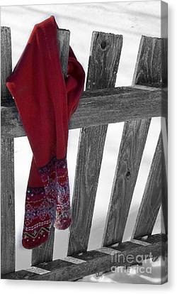 Red Scarf Hanging On Fence Canvas Print by Birgit Tyrrell
