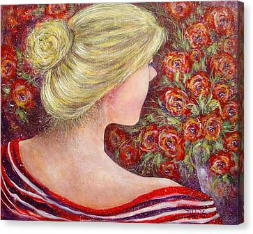Canvas Print featuring the painting Red Scented Roses by Natalie Holland