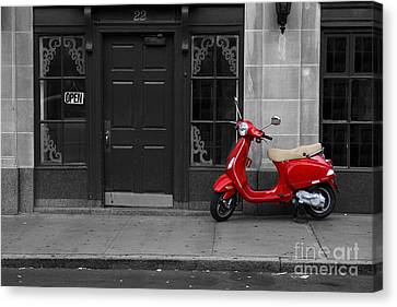 Red Scooter Canvas Print by Diane Diederich