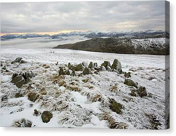 Red Screes Above Ambleside With Mist Canvas Print
