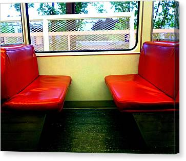 Red Seats Transportation Canvas Print by Gina  Zhidov