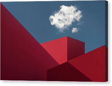 Sky Line Canvas Print - Red Shapes by Hugo Borges