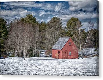 Maine Farmhouse Canvas Print - Red Shed In Maine by Guy Whiteley