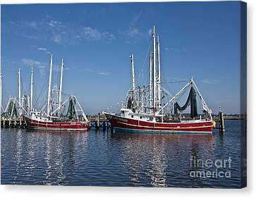 Red Shrimp Boats Canvas Print by Joan McCool