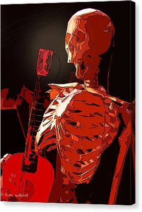 Heavy Medal Canvas Print - Red Skeleton by Kim Webert