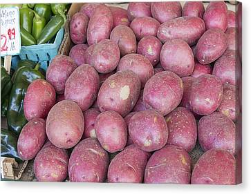 Red Skin Potatoes Stall Display Canvas Print by Jit Lim