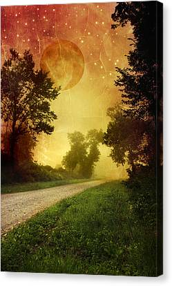 Red Sky Along Starry Pathway Canvas Print by Christina Rollo