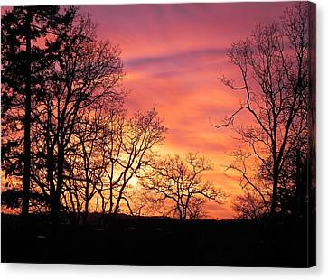 Canvas Print featuring the photograph Red Sky At Night Sailor's Delight by Cheryl Hoyle