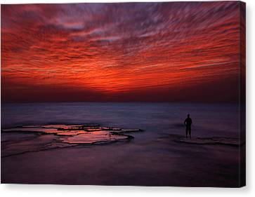 Ice Figures Canvas Print - Red Sky by Itay Gal