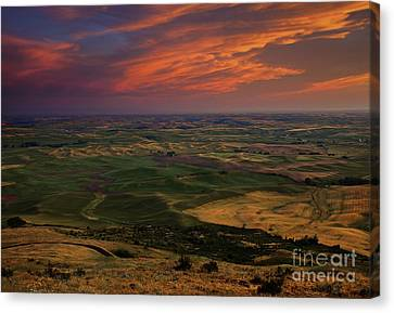 Red Sky Over The Palouse Canvas Print