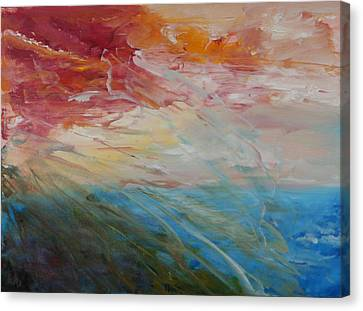 Canvas Print featuring the painting Red Sky by Sandra Nardone