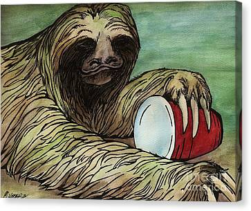 Red Solo Sloth Canvas Print by Meagan  Visser