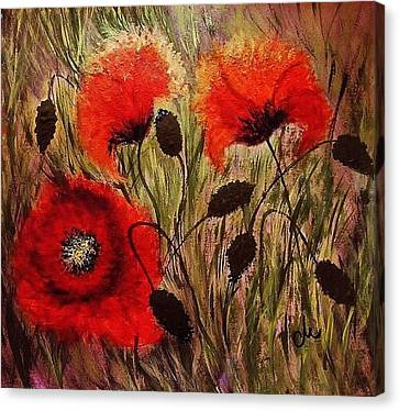Canvas Print featuring the painting Red Sparks... by Cristina Mihailescu