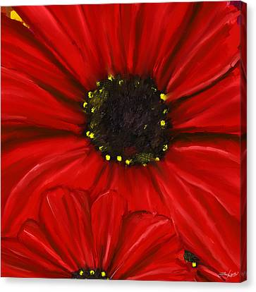 Shades Of Red Canvas Print - Red Spectacular- Red Gerbera Daisy Painting by Lourry Legarde
