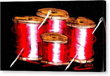 Canvas Print featuring the drawing Red Spools 3 by Joseph Hawkins