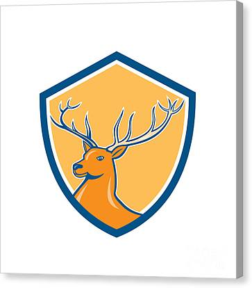 Red Stag Deer Head Shield Cartoon Canvas Print