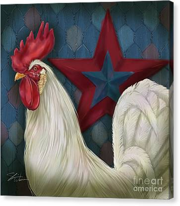 Red Star Rooster Canvas Print by Shari Warren