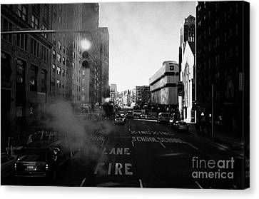 Red Stop Light Fire Lane Steam Pipe Venting 7th Avenue 14th Street Greenwich Village New York City Canvas Print
