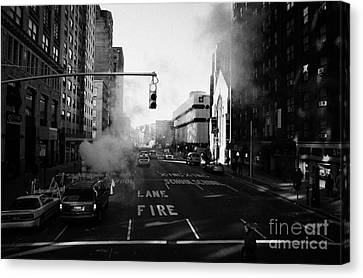 Red Stop Light Fire Lane Steam Pipe Venting 7th Avenue And 14th Street Greenwich Village New York Canvas Print by Joe Fox