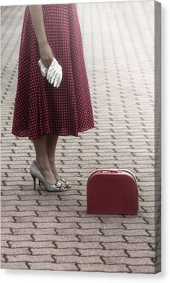 Red Suitcase Canvas Print by Joana Kruse