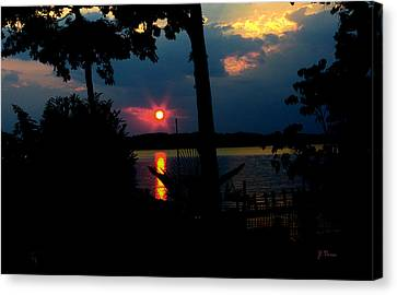 Canvas Print featuring the photograph Red Sun by James C Thomas