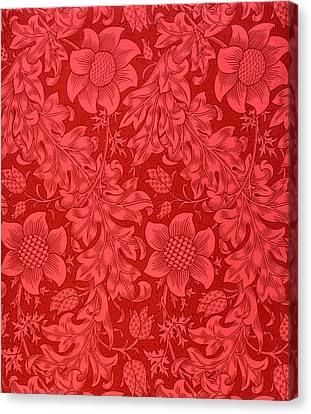 Christmas Flower Canvas Print - Red Sunflower Wallpaper Design, 1879 by William Morris