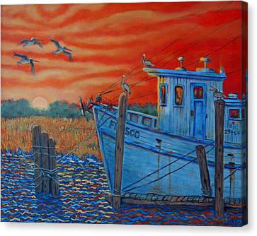Red Sunset On Shem Creek Canvas Print