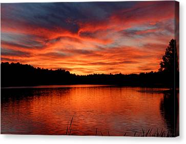 Red Sunset Reflections Canvas Print