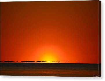 Red Sunset With Superior Mirage On Santa Rosa Sound Canvas Print by Jeff at JSJ Photography