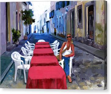 Red Tables In The Pelourinho Canvas Print by Douglas Simonson