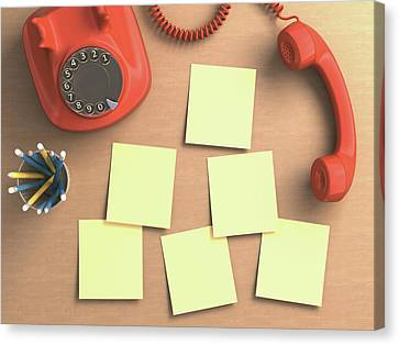 Sticky Note Canvas Print - Red Telephone And Sticky Notes by Ktsdesign