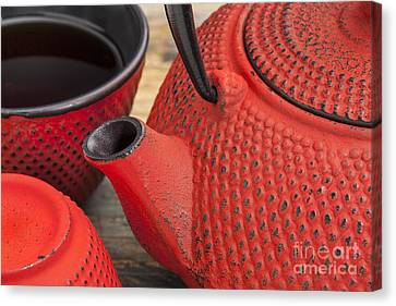 Red Tetsubin With Cups Canvas Print