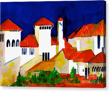 Canvas Print featuring the painting Red Tiles And Blue Skies by Nan Wright