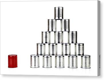 Red Tin Can Beside A Pyramid Canvas Print