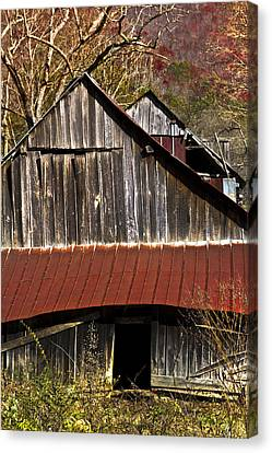 Red Tin Roof Canvas Print by Debra and Dave Vanderlaan
